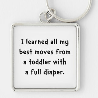 Toddler Full Diaper Silver-Colored Square Keychain