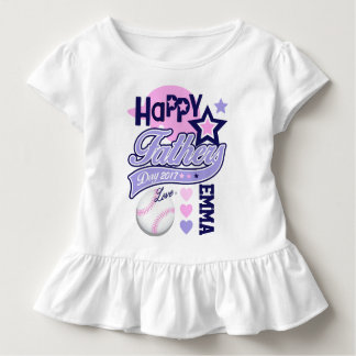Toddler Girls Happy Fathers Day Baseball Shirt