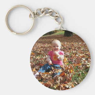 Toddler in the fall Leaves Basic Round Button Keychain