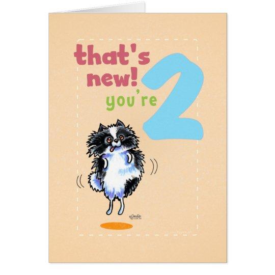 Toddler Kids Birthday Age 2 Pomeranian Card