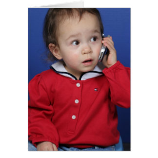 Toddler on Cell Phone Card