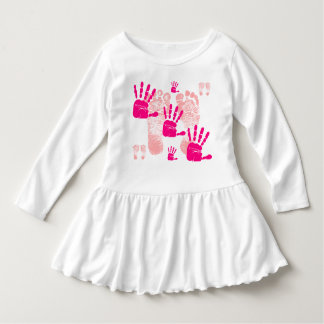 Toddler Pink Foot Print & Hand Print Ruffle Dress
