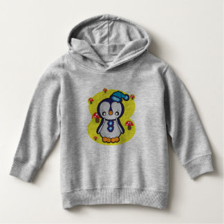 Toddler Pullover Hoodie, Heather Grey with penguin