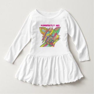 Toddler Ruffle Dress. Rainbow cat design. Dress
