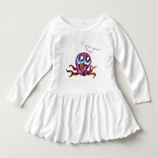 Toddler Ruffle Dress, White Octopus Hugs Design Dress