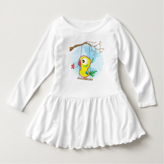 Toddler Ruffle Dress, White, with parrot Dress