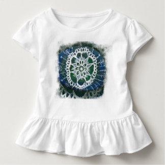 Toddler Ruffle Tee White mandala blue background