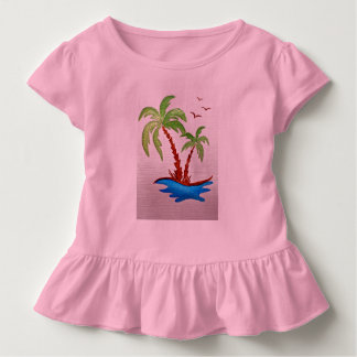 Toddler Ruffle Tee with picture of Palm Trees