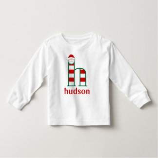 Toddler Striped Santa Longsleeve Shirt monogram h