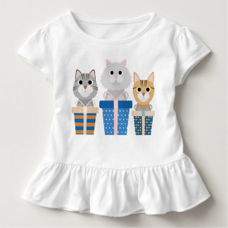 Toddler White Ruffle Shirt Hanukkah Cats