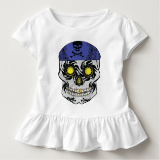 Toddlers Biker Candy Skull Ruffle Shirt