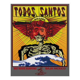 TODOS SANTOS BAJA MEXICO SURFBREAK SURFING POSTER