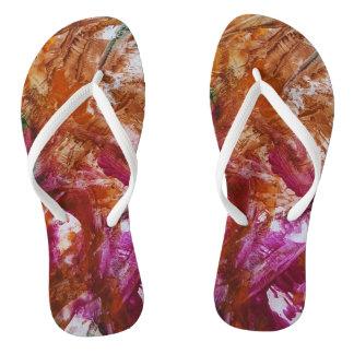 toe lip press Pinky Orange art by OctopusChick Flip Flops