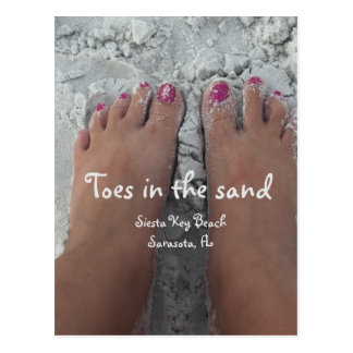Toes in the white sands postcard