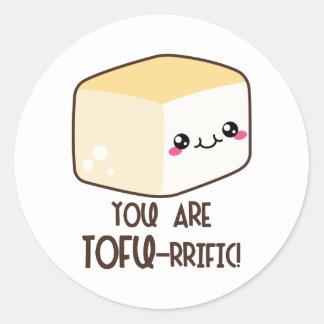 Tofu-rrific Emoji Classic Round Sticker