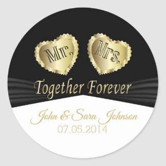 Together Forever - Black, Gold and White Classic Round Sticker