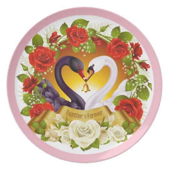 Together Forever Roses & Swan Melamine Plate