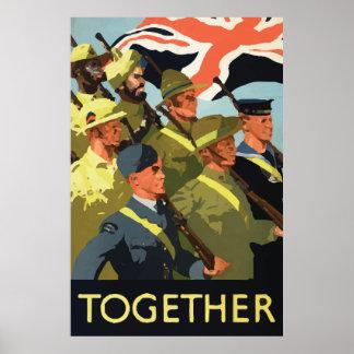 Together vintage world war 2 poster Great Britain