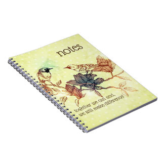 Together we can European retro bird note book