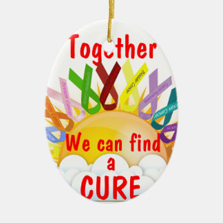 Together we can find a CURE Ceramic Oval Ornament