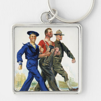 Together We Win, Vintage WWI Poster Silver-Colored Square Keychain