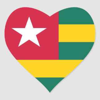 Togo Flag Heart Sticker