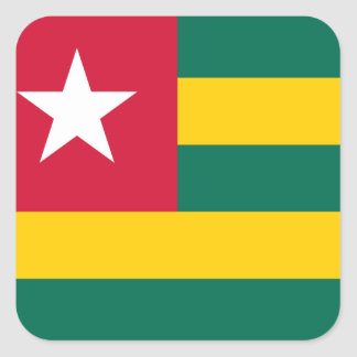 Togo National World Flag Square Sticker