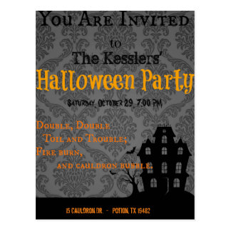 Toil and Trouble Halloween Party Invite Postcard