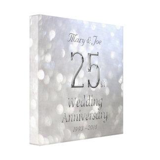 Toile 25ème Typographie de Bokeh d'argent d'anniversaire