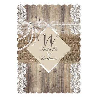 Toile de jute beige en bois de dentelle de perle carton d'invitation  12,7 cm x 17,78 cm