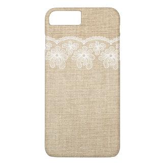 Toile de jute et jeune mariée rustiques de coque iPhone 7 plus
