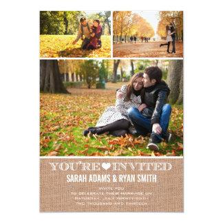 Toile de jute mignonne de coeur épousant carton d'invitation  12,7 cm x 17,78 cm