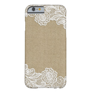 Toile de jute rustique de pays et dentelle florale coque iPhone 6 barely there