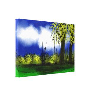 Toile enveloppée beau par paysage toile tendue sur châssis