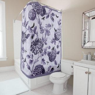 Toile floral botanique vintage bleu violet et