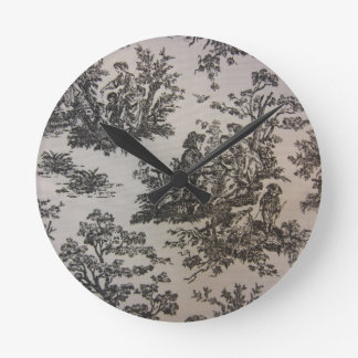 Toile in Black & White Round Clock
