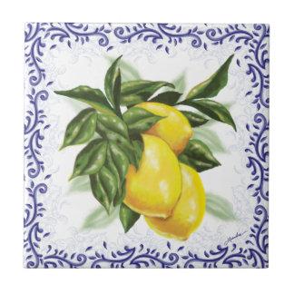 Toile Lemons Ceramic Tile