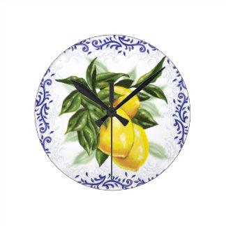 Toile Lemons Clock