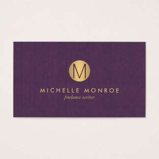 Toile minimaliste de pourpre de monogramme d'or cartes de visite