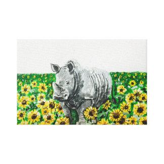 Toile Rhinocéros en tournesols
