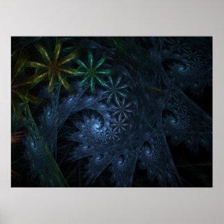 Toiles d'araignée de fractale poster