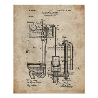 Toilet Cistern Patent Poster