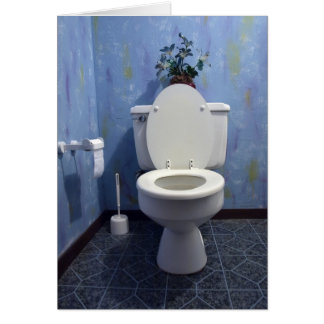 Toilet in bathroom greeting card