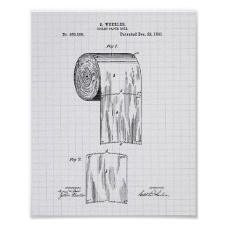 Toilet Paper Roll 1891 Patent Art - Lined Peper Poster