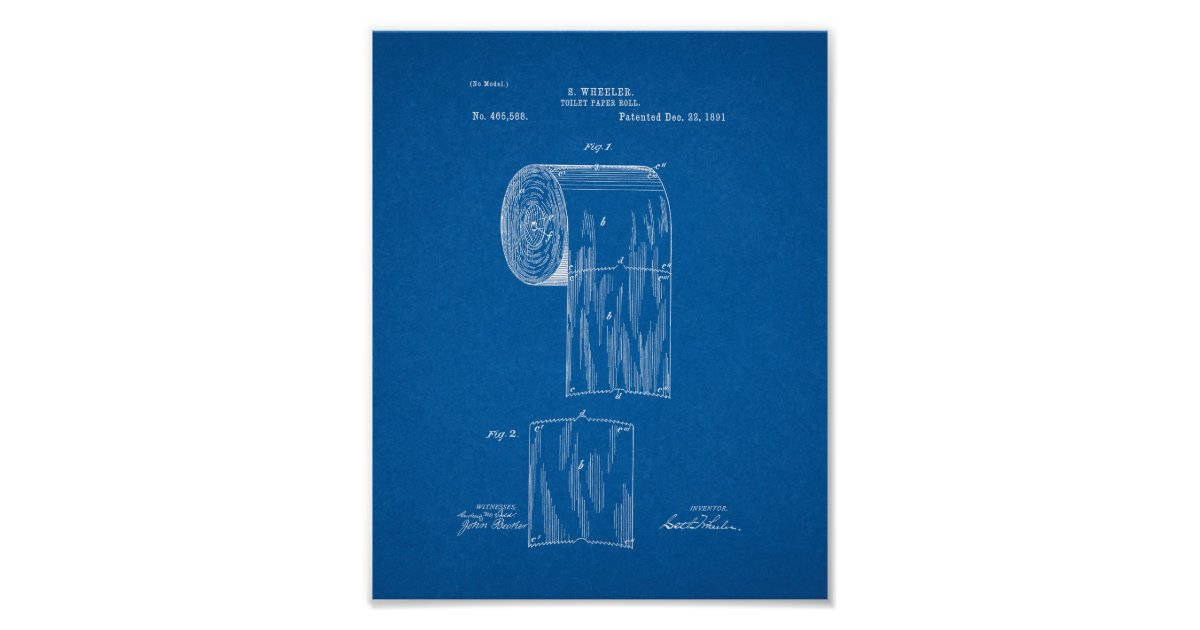 Toilet paper roll patent blueprint poster zazzle malvernweather Image collections