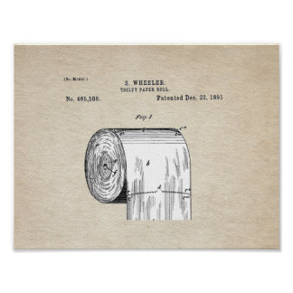 Toilet Paper Roll Patent Poster