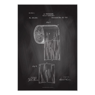 Toilet Paper Roll Patent Print Chalkboard Poster