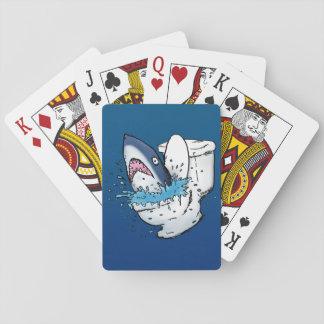 Toilet Shark Funny Cartoon Illustration Poker Card