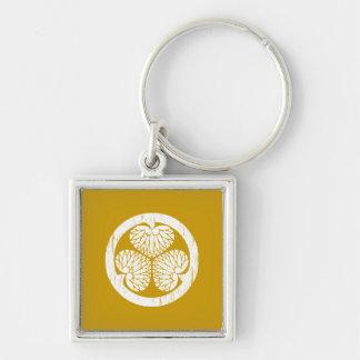 Tokugawa white crest distressed keychain