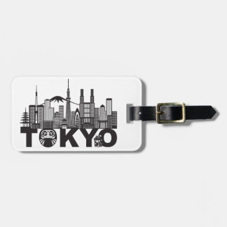Tokyo City Skyline Text Black and White Bag Tag